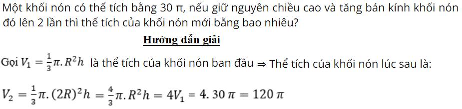 tính thể tích hình nón - toanhocorg