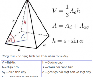 [8+] Công thức tính thể tích khối chóp, hình chóp đều, hình chóp cụt