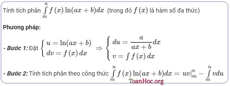 Tích phân từng phần hàm số logarit