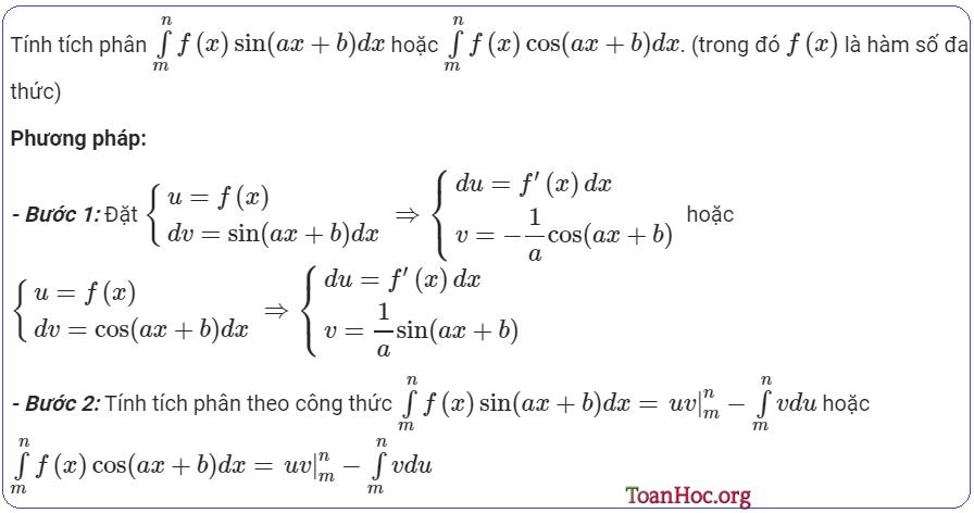 Tích phân từng phần lượng giác