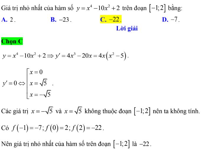 Tìm giá trị nhỏ nhất của hàm số