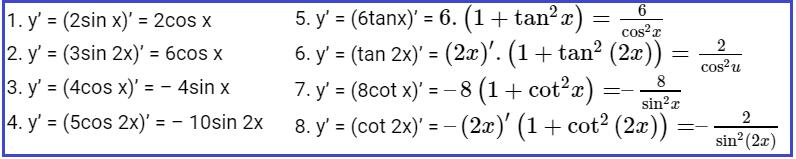 đạo hàm của hàm số lượng giác - toanhocorg