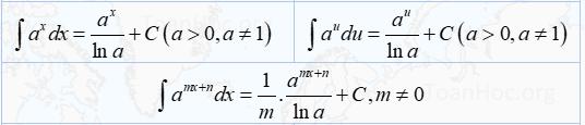 bảng 3 nguyên hàm hàm số
