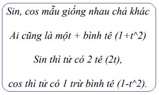 Thơ công thức biến đổi theo t = tan(α/2)