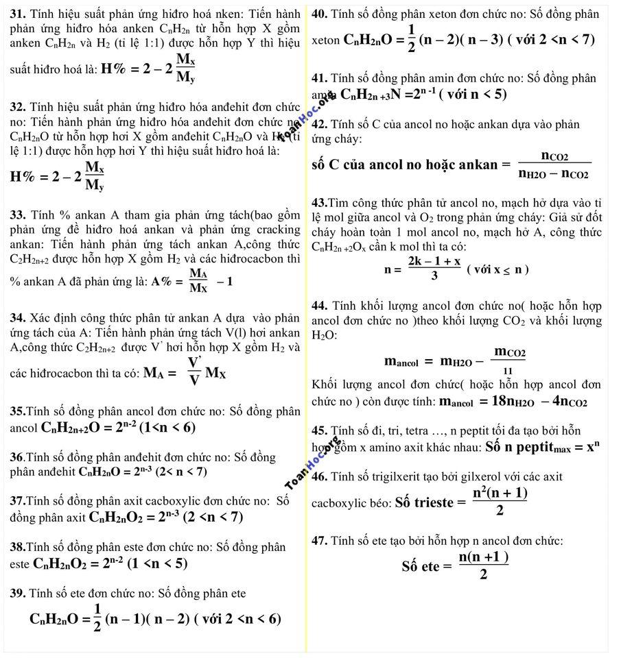 công thức hóa học 12