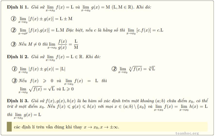Một số định lý về giới hạn hữu hạn