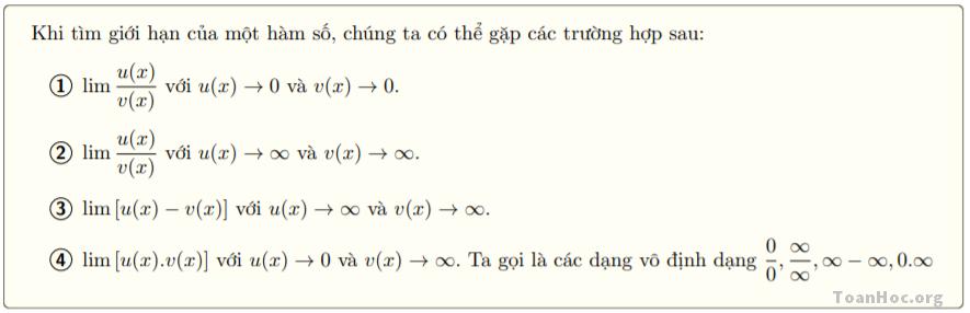 Các dạng vô định của giới hạn hàm số