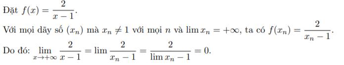 Sử dụng định nghĩa giới hạn của hàm số tìm giới hạn