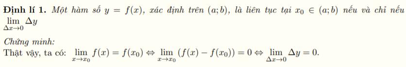 Đặc trưng khác của tính liên tục tại một điểm