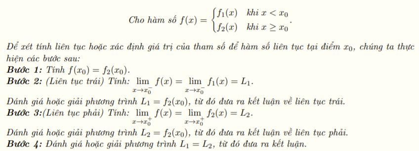 Xét tính liên tục của hàm số tại một điểm -