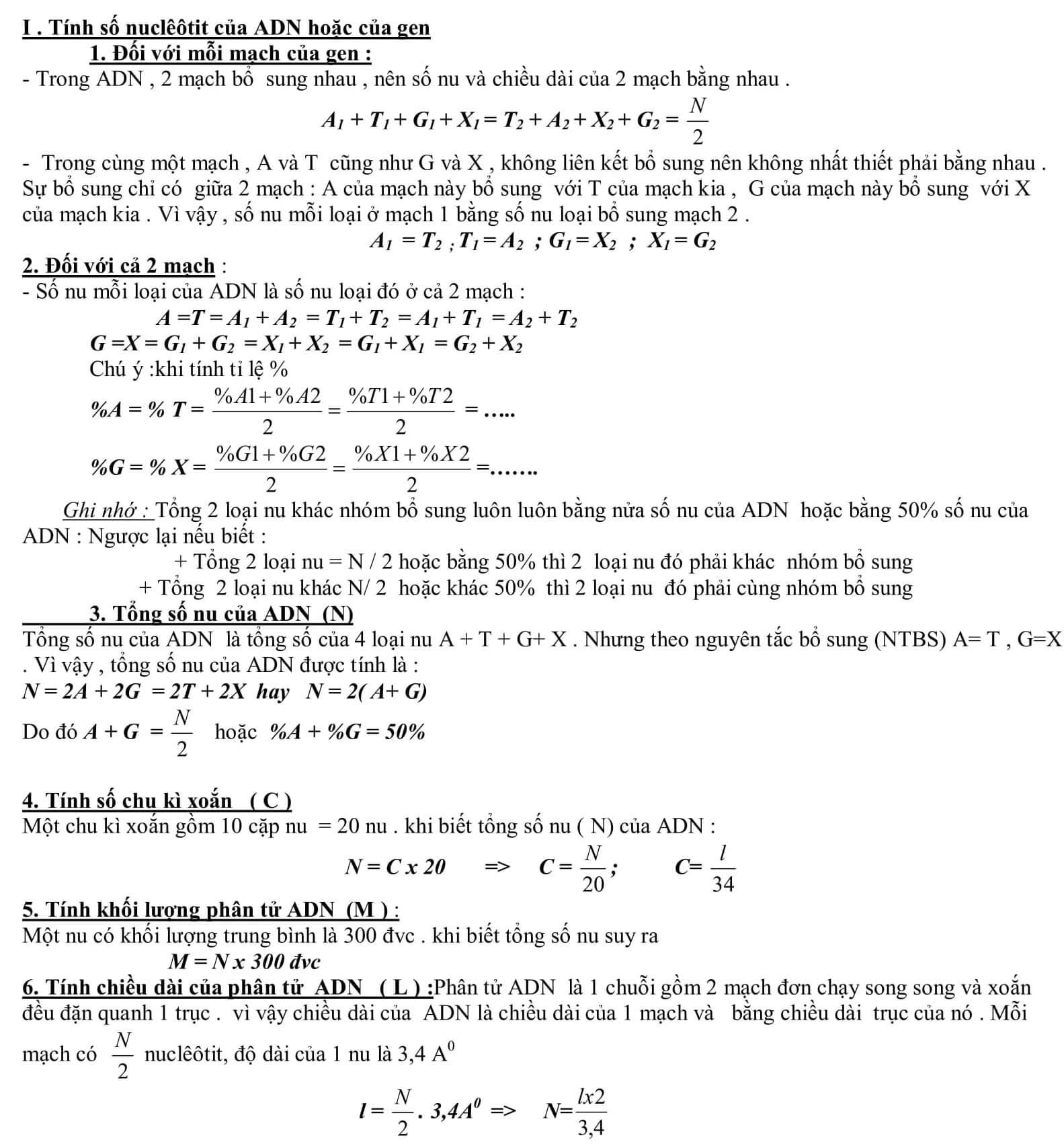 công thức sinh học 12