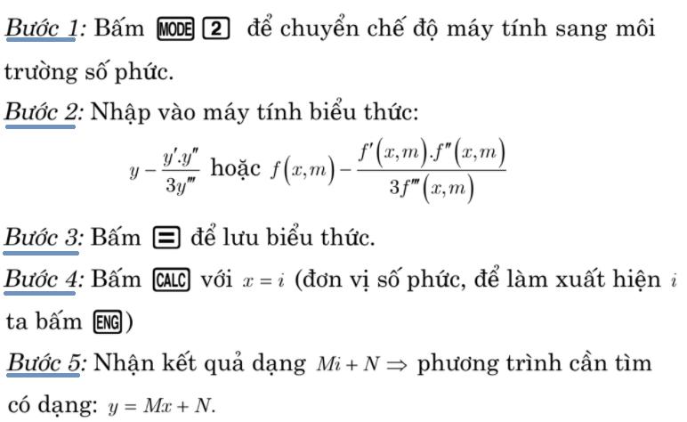 Sử dụng fx – 580VN để viết phương trình đường thẳng đi qua 2 điểm cực trị của đồ thị hàm số bậc ba