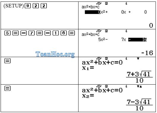 Cách tách phương trình bậc 2 bằng máy tính